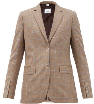 Burberry Sidon Single-breasted Check Wool Jacket - Brown Multi