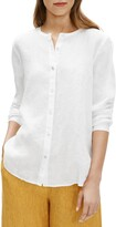 Eileen Fisher Collarless Organic Linen Button-Up Shirt