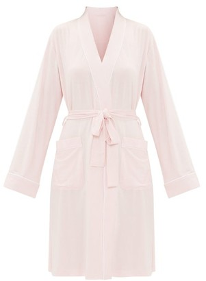 Derek Rose Lara Piped-jersey Robe - Womens - Light Pink