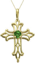 JCPenney FINE JEWELRY Lab-Created Emerald 10K Yellow Gold Cross Pendant Necklace