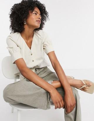 Selected Malvina button-down linen-mix shirt in cream