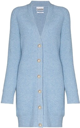 Ganni Crystal-Button Ribbed-Knit Cardigan