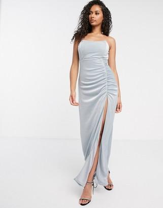 Rare London strapless thigh split maxi dress in blue glitter