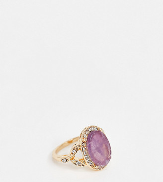 Reclaimed Vintage inspired ring with lilac stone and crystal detail