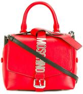 Moschino logo plaque tote - women - Leather/Brass - One Size