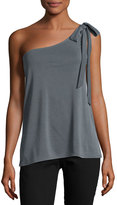 Casual Couture Shoulder-Tie Asymmetric Tank Top, Gray