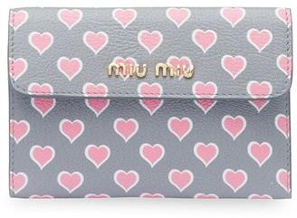 Miu Miu Heart Motif Printed Wallet
