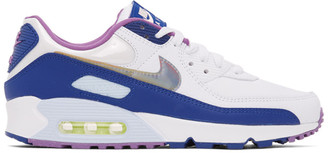 Nike White and Blue Air Max 90 SE Sneakers