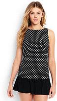 Classic Women's High-neck Tankini Top-Black Dot