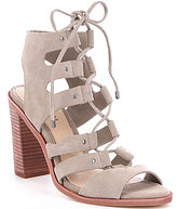 Gianni Bini Block Heel Ghillie Lace-Up Caged Sandals
