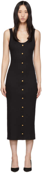 Balmain Black Ribbed Button Dress