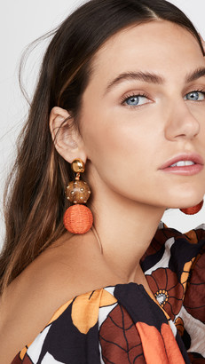 Oscar de la Renta Raffia & Wood Ball Earrings
