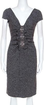 Valentino Grey Boucle Knit Wool Blend Embellshed Detail Dress M