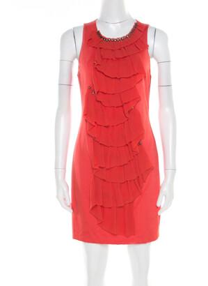 3.1 Phillip Lim Orange Stretch Knit Chiffon Ruffled Embellished Sleeveless Dress M