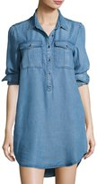 Velvet Heart Melba Button-Front Chambray Tunic Dress, Light Blue