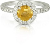 Forzieri 0.50 ct Diamond Pave 18K White Gold Ring w/Citrine Quartz