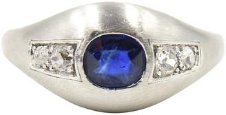 One Kings Lane Vintage Deco Sapphire & Diamond Platinum Ring - Owl's Roost Antiques