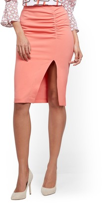 New York & Co. Ruched Slit-Front Skirt - 7th Avenue