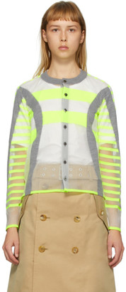 Junya Watanabe Grey and Yellow Stripe Cardigan