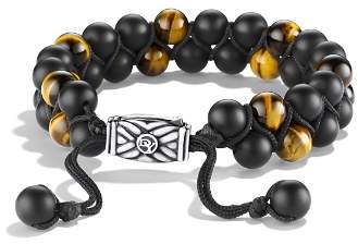 David Yurman Spiritual Beads Two-Row Bracelet with Black Onyx & Tiger's Eye