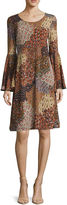MSK Long-Sleeve Paisley-Print Fit-and-Flare Dress