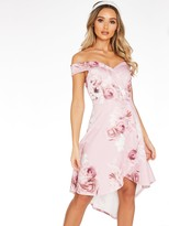 Quiz Floral Strappy Low Back Frill Hem Midi Dress - Pink