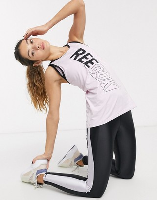 Reebok Training logo tank with strappy back in pink
