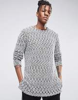 Asos Heavyweight Longline Jumper With Stepped Hem In Viscose Mix