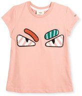 Fendi Girls' Short-Sleeve Embroidered Monster Eye T-Shirt, Pink, Size 3-5