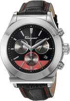Salvatore Ferragamo Men's '1898' Swiss Quartz Stainless Steel and Leather Casual Watch, Color:Black (Model: FFM100016)
