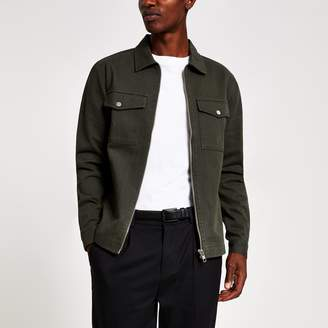 River Island Mens Khaki zip front regular fit denim overshirt