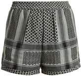 CECILIE COPENHAGEN High-rise scarf-jacquard cotton shorts