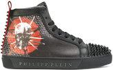 Philipp Plein - studded skull feature hi-tops - men - Calf Leather/Leather/Foam Rubber/metal - 41