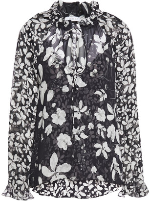 Isolda Pussy-bow Floral-print Silk-georgette Blouse