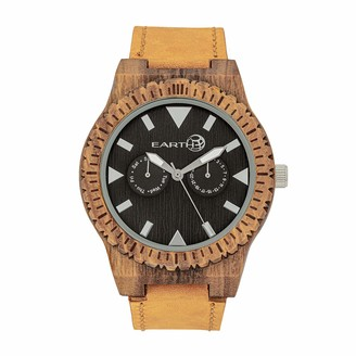 Earth Wood Hyperion Quartz Eco Friendly Olive Dial Tan Genuine Leather Watch with Day Date ETHEW5904