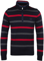 Paul & Shark Navy, Red & Grey Stripe Quarter Zip Sweater
