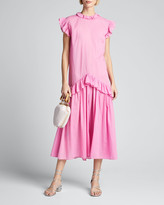 Rhode Resort Mary Dropped-Waist Sleeveless Ruffle Dress