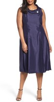 Tahari Plus Size Women's Envelope Neck Midi Dress