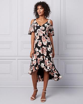 Le Château Floral Print Cold Shoulder Flounce Dress