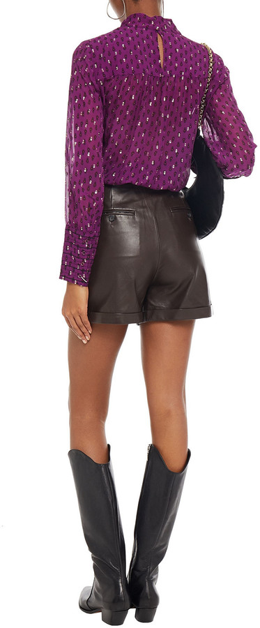 Thumbnail for your product : BA&SH Cabri Twist-front Printed Metallic Fil Coupe Chiffon Blouse