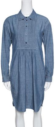 Burberry Indigo Chambray Pintuck Detail Shirt Dress S