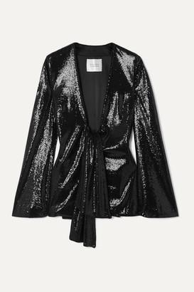 Galvan Ando Tie-front Sequined Satin Jacket - Black
