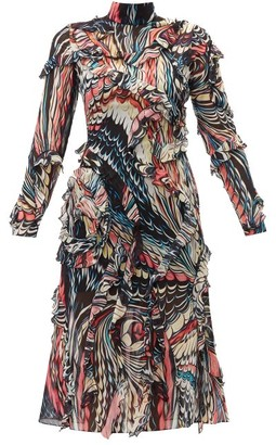 Mary Katrantzou Abstract-print Ruffled Silk-georgette Dress - Womens - Black Multi