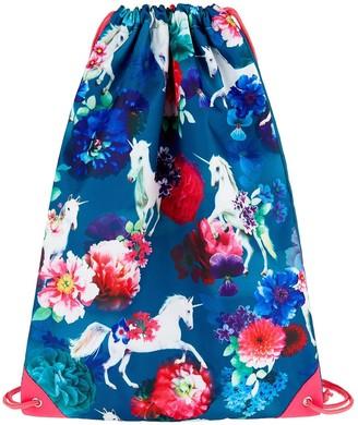 Monsoon Girls Unicorn Floral Drawstring Backpack - Navy