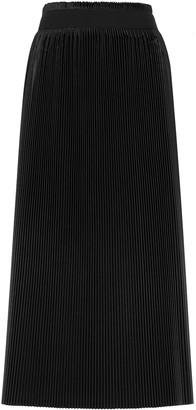 Jil Sander Black plisse satin midi skirt