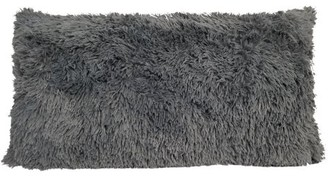 Heritage Club Dark Grey Long Faux Fur Throw Body Pillow