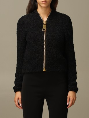 Moschino Sweater Cardigan In Bouclé With Big Zip