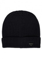 Armani Jeans Navy Ribbed Wool Beanie