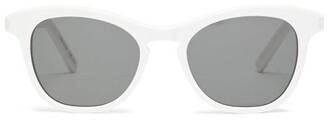 Saint Laurent Warped D-frame Acetate Sunglasses - Womens - Ivory Multi
