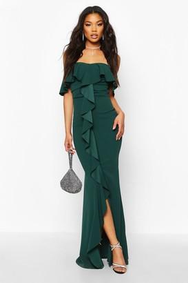 boohoo Bardot Ruffle Front Maxi Dress